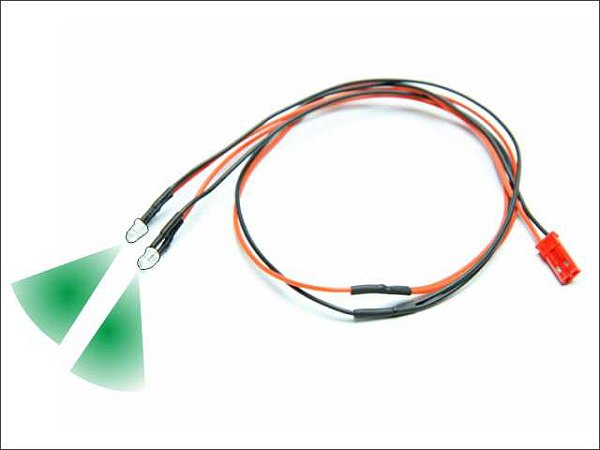 Led kabel gr n kabel mit 2 leds 410mm mit bec for Led ohne kabel